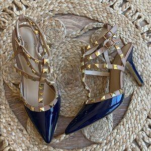Bcbg blue studded heels size 7